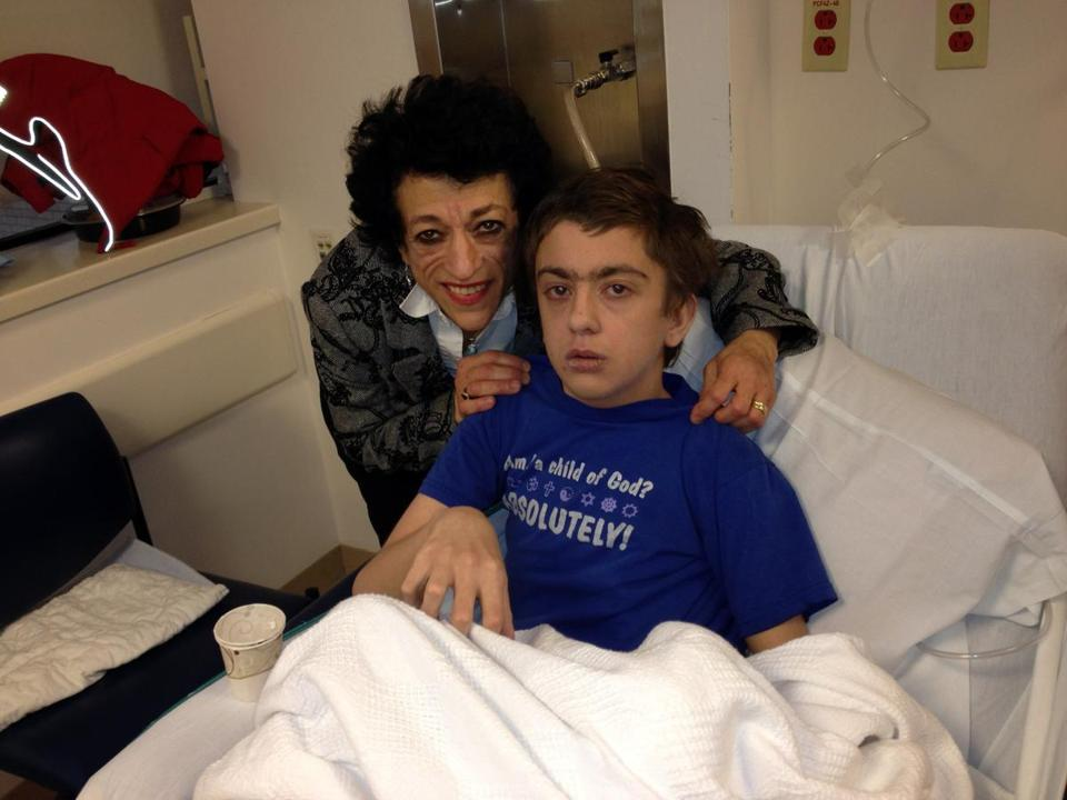Shohreh Moldenhauer and her son, Robert, at Children's Hospital.
